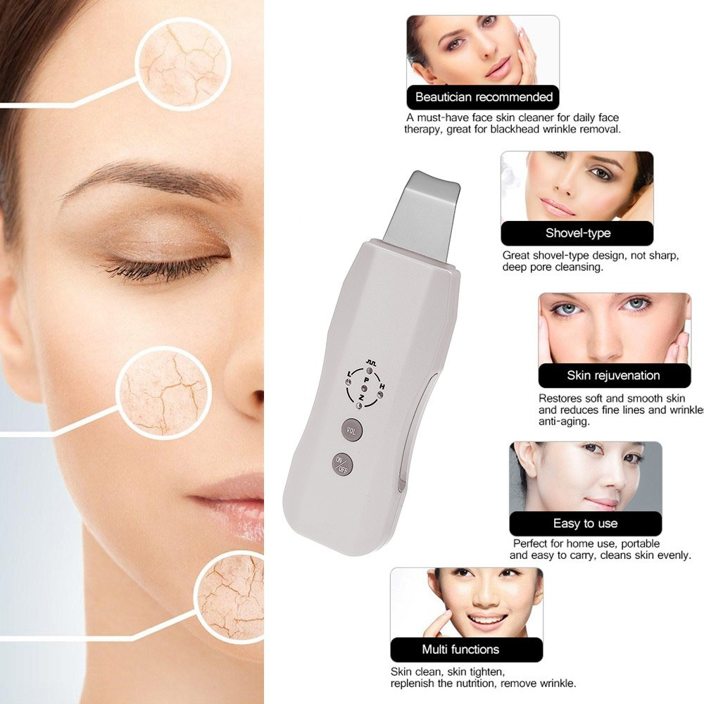 Sonic Skin Cleaner Ultrasonic Face Pore Scrubber Facial Tighten Peeling Shovel Exfoliator Blackhead Removal Skin Care Massager