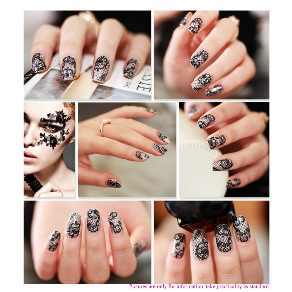 12pcs/pack Fashion Designs 3D White Lace Nail Art Stickers ...