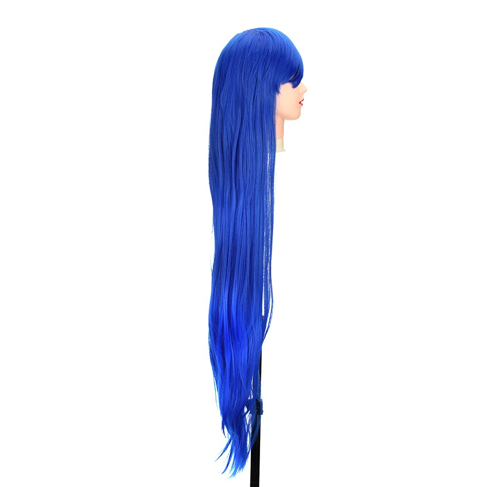 Pure Blue 1m Long Staight Wig Anime Character Cosplay Stage Role