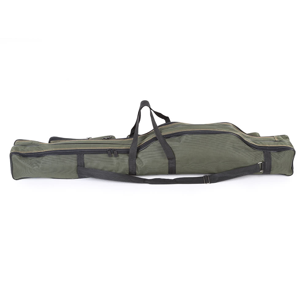 Portable folding fishing rod carrier canvas fishing pole for Fishing rod case