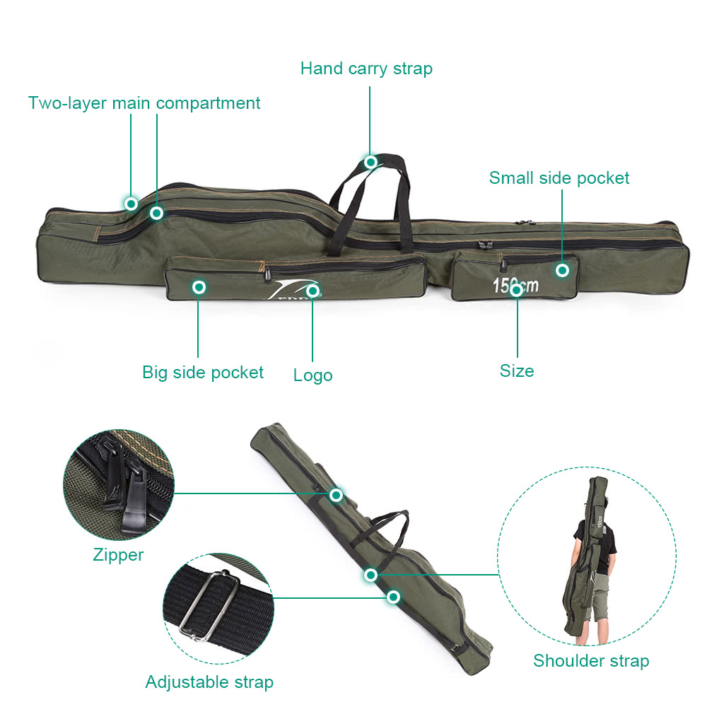 Portable folding fishing rod carrier canvas fishing pole for Foldable fishing rod