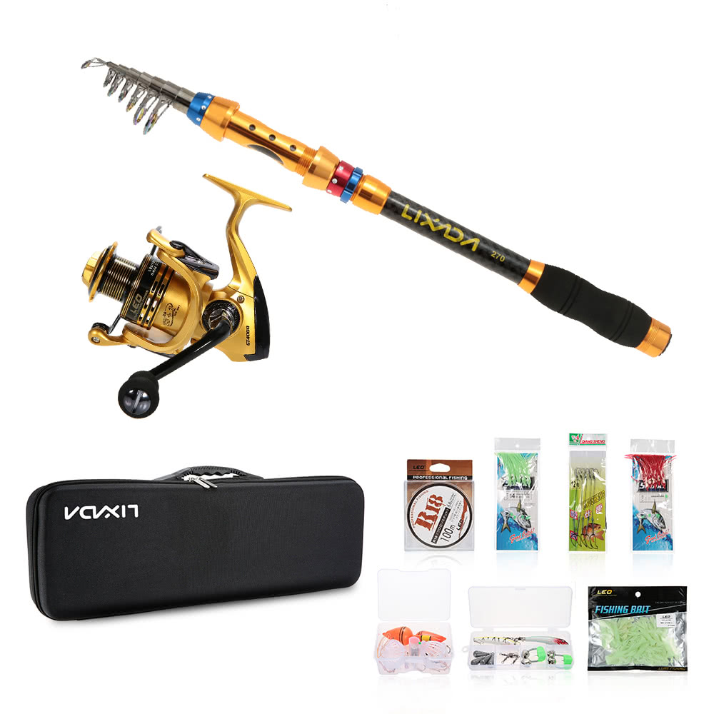 Lixada portable lure rod set spinning rod and fishing reel for Fishing rod set