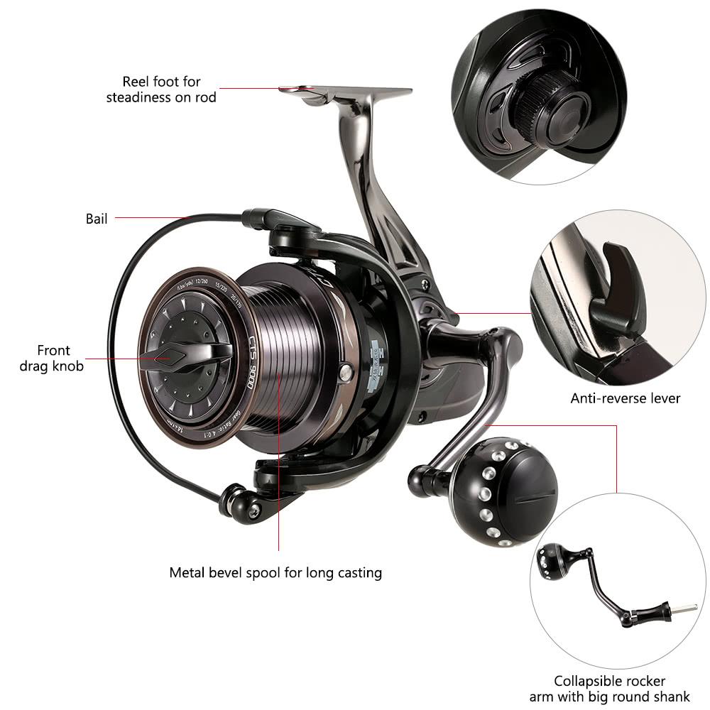 14+1BB Ball Bearings Fishing Reel 4.0:1 Spinning Fishing Reel Metal Spool Fishing Reel Left/Right Interchangeable Handle Fishing Reels - US$52.07 Sales ...