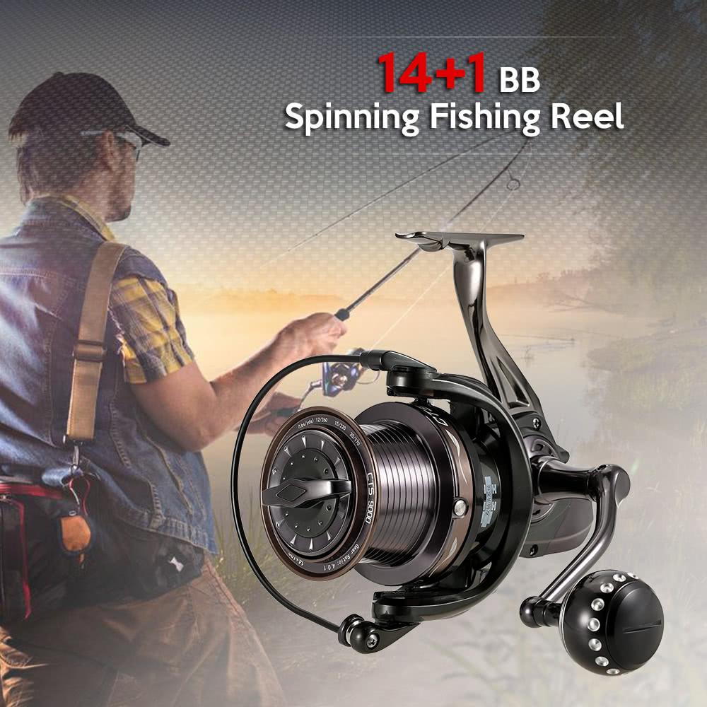 14+1BB Ball Bearings Fishing Reel 4.0:1 Spinning Fishing Reel Metal Spool Fishing Reel Left/Right Interchangeable Handle Fishing Reels