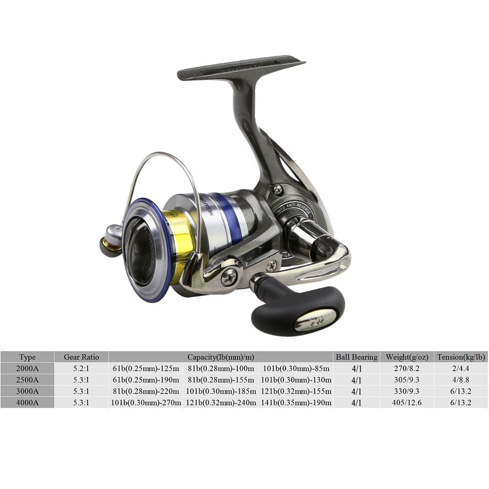 DAIWA Spinning Fishing Reel Left/Right Interchangeable Handle Spinning Reel with Extra Spool