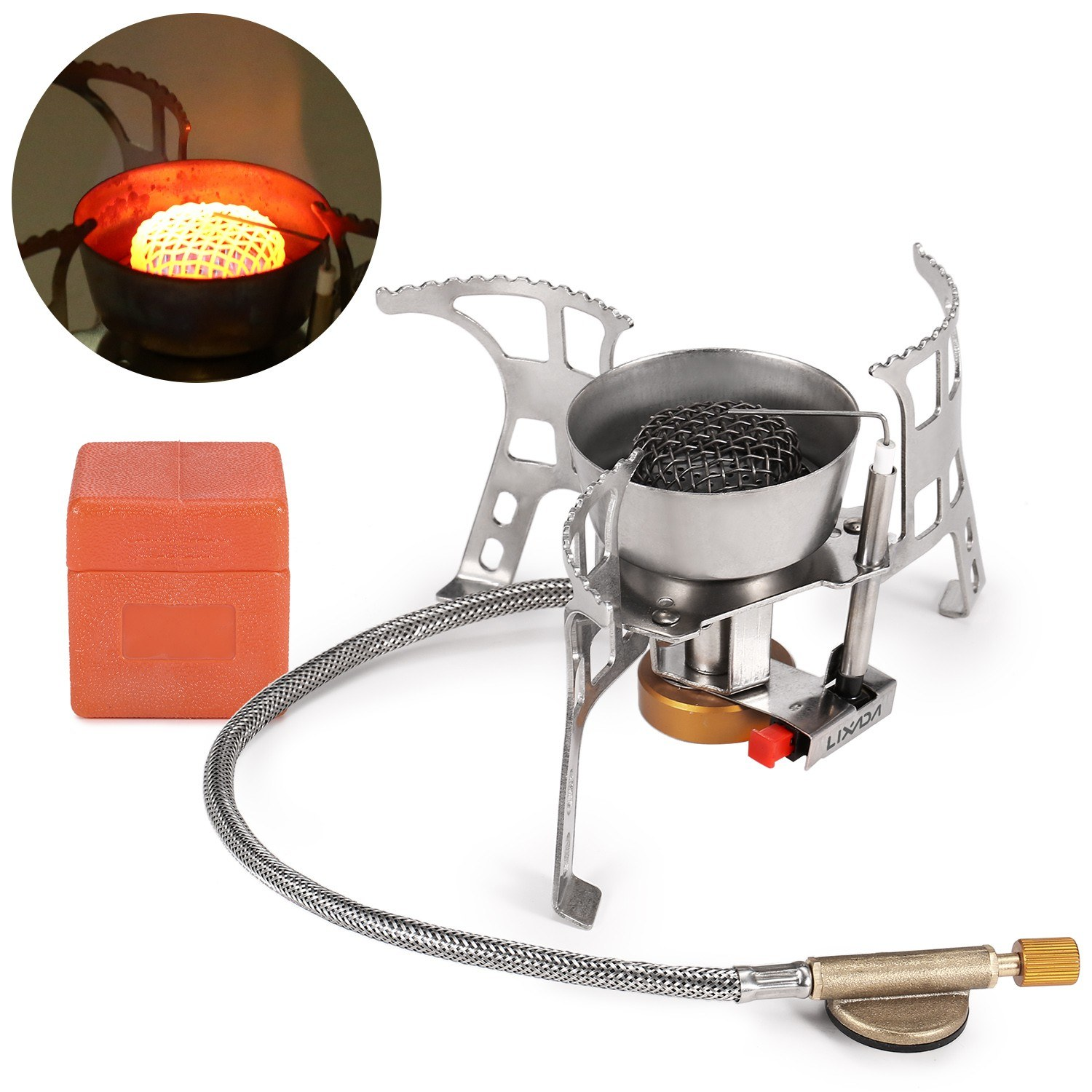 Lixada Foldable Camping Gas Stove Windproof Piezo Ignition Backpacking D8K1