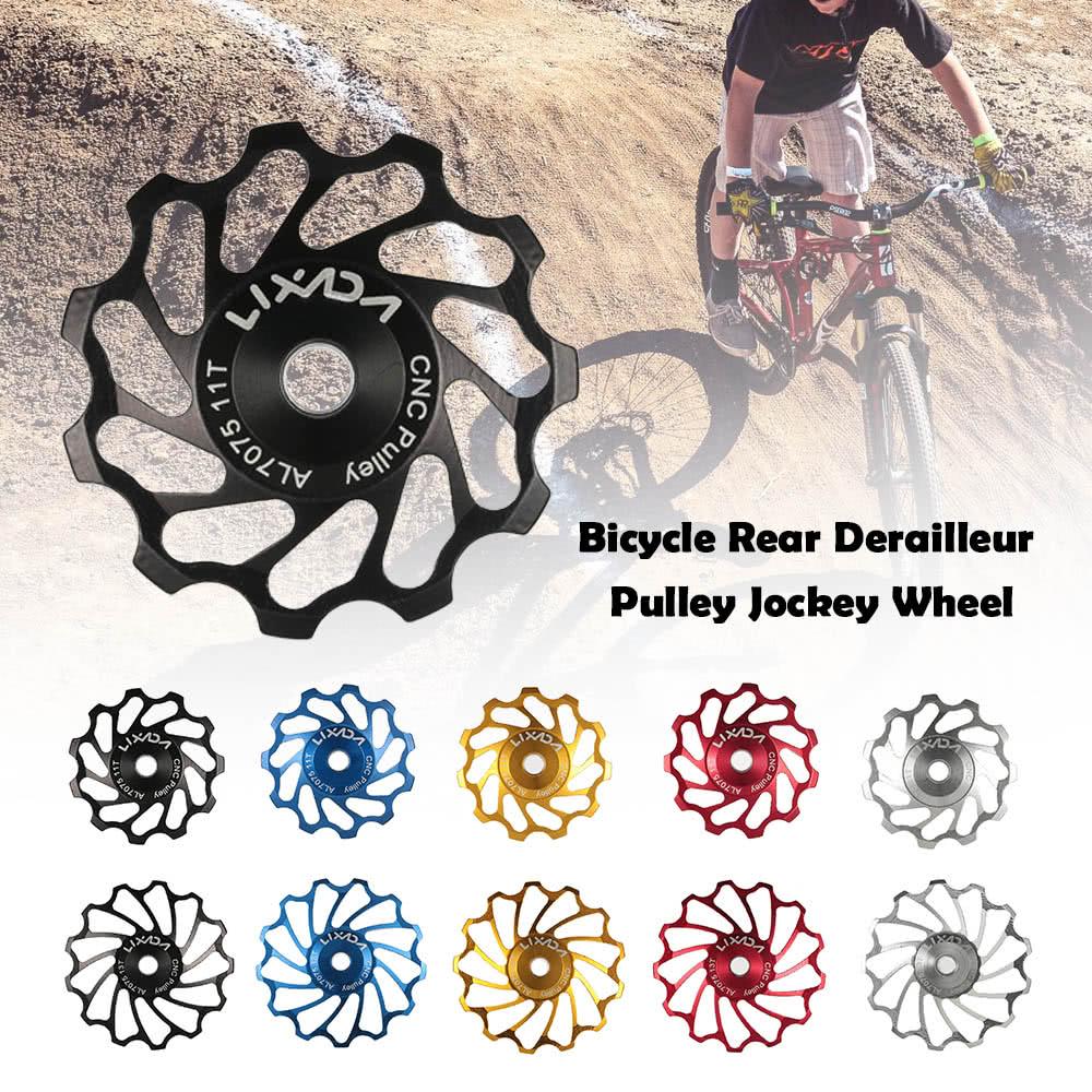 Lixada MTB Road Bike Ceramic Pulley 7075 Aluminum Alloy Rear Derailleur 11T  Guide Cycling Ceramics Bearing Jockey Wheel