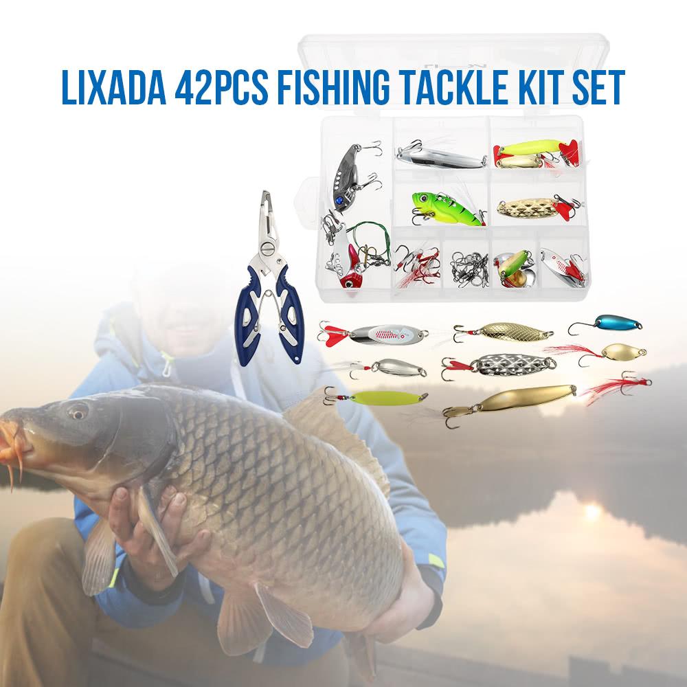Lixada 42pcs assorted fishing gear hard lure baits metal for Fishing tackle online