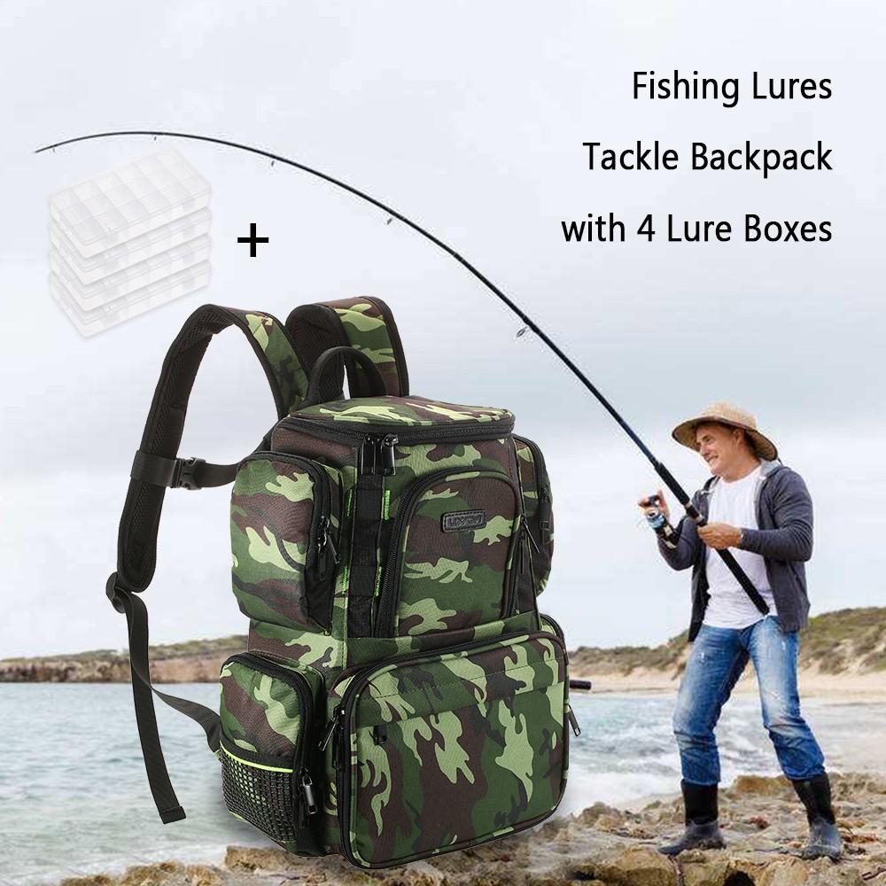 Lixada fishing tackle bag backpack fishing lures bait box for Fishing tackle online