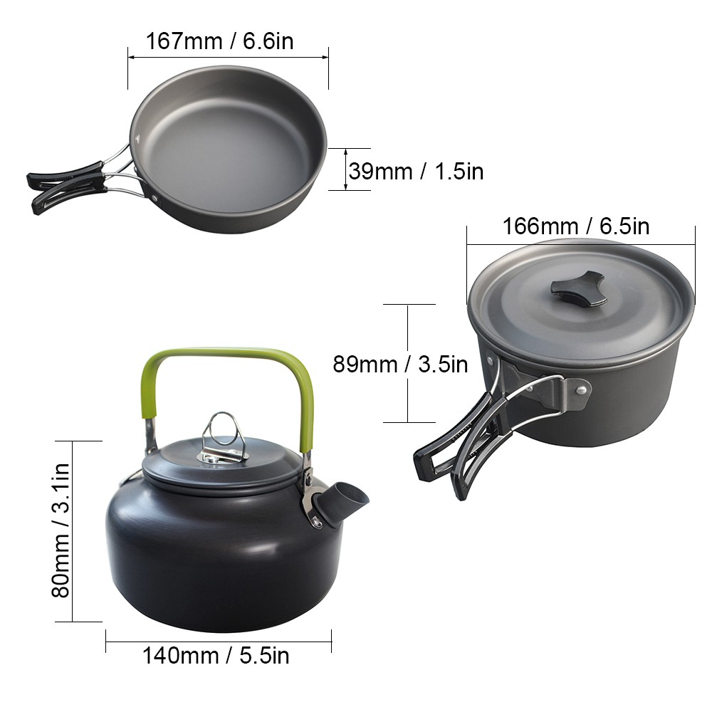 Outdoor Camping Cookware 9 Piece Pot Pan Kettle Bowl Spoon Set Backpacking Cooking Picnic Camping Cookware Kit for 2 - 3 Persons