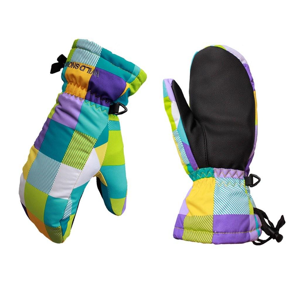 Children Mosaic Splicing Design Ski Snow Windproof Glove