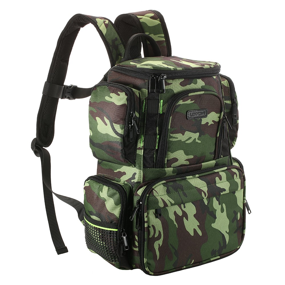 Lixada fishing tackle bag backpack fishing lures bait box for Spiderwire fishing backpack