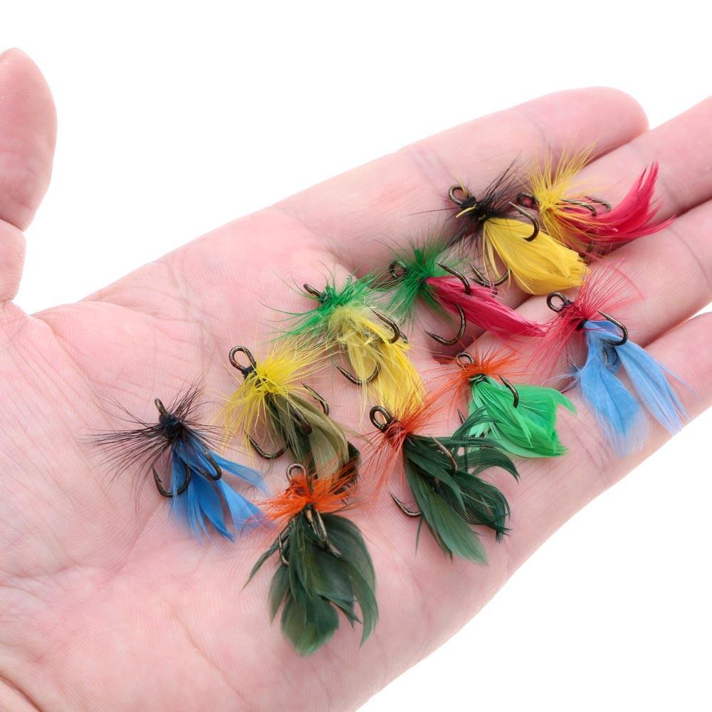 lixada 10st eingestellten fliegenfischen k der k nstliche k der mit h hen haken carbon stahl. Black Bedroom Furniture Sets. Home Design Ideas