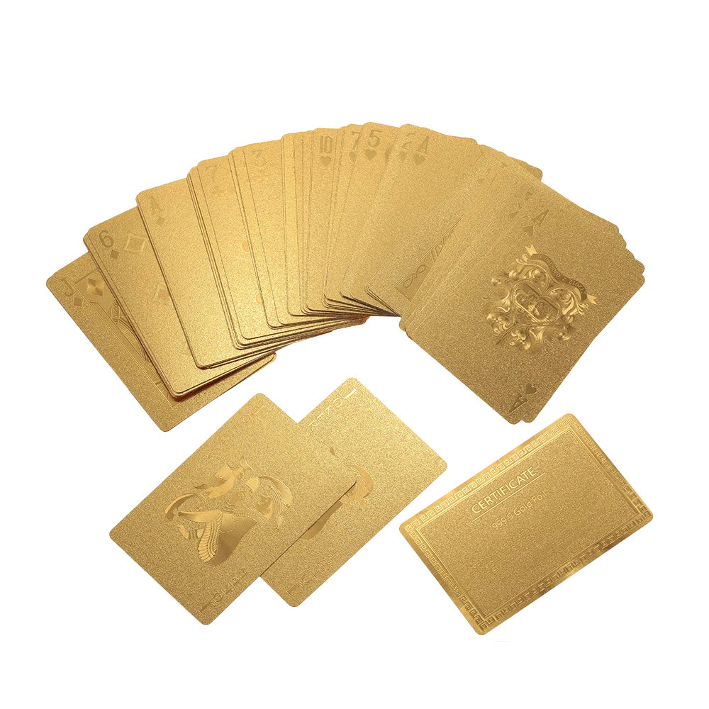 Certified pure 24k carat gold foil plated poker playing for Table 52 cards 2014