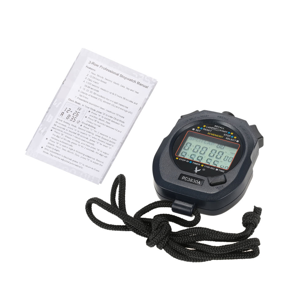 LCD Professional Digital Handheld Chronograph Sports Stopwatch Timer Stop  Watch