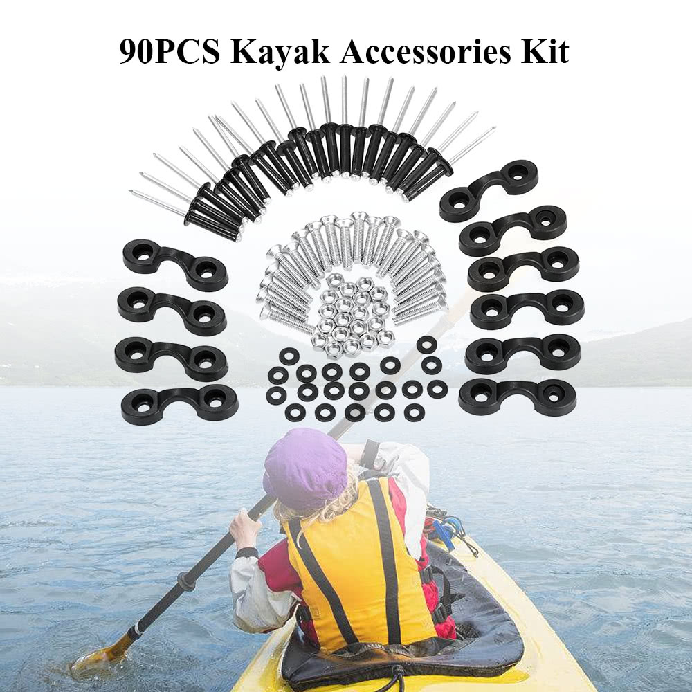 90pcs Kayak Accessories Set Bungee Deck Loops Tie Down Pad Eyes Kit with  Screws and Nuts for Kayaks Canoes Boats