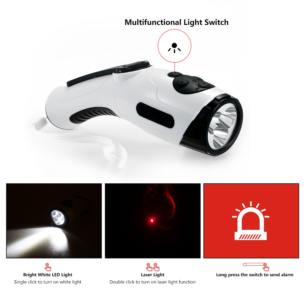 Hand Crank Dynamo Usb Rechargeable Led Laser Flashlight Lamp Torch Single Cell Phone Charger Power Bank Emergency Light Fm Am Radio For Outdoor Camping Climbing