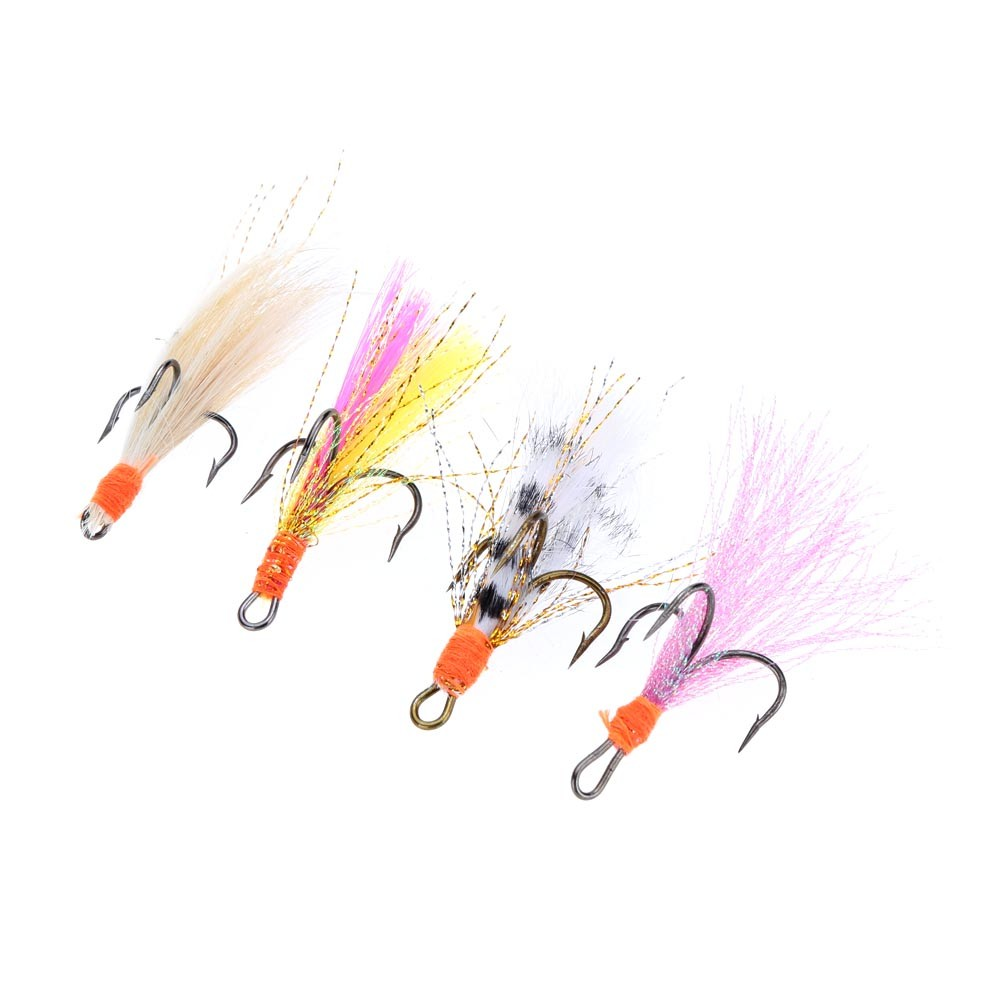 Lixada 4pcs fly fishing lure set artificial bait with for Fly fishing lures