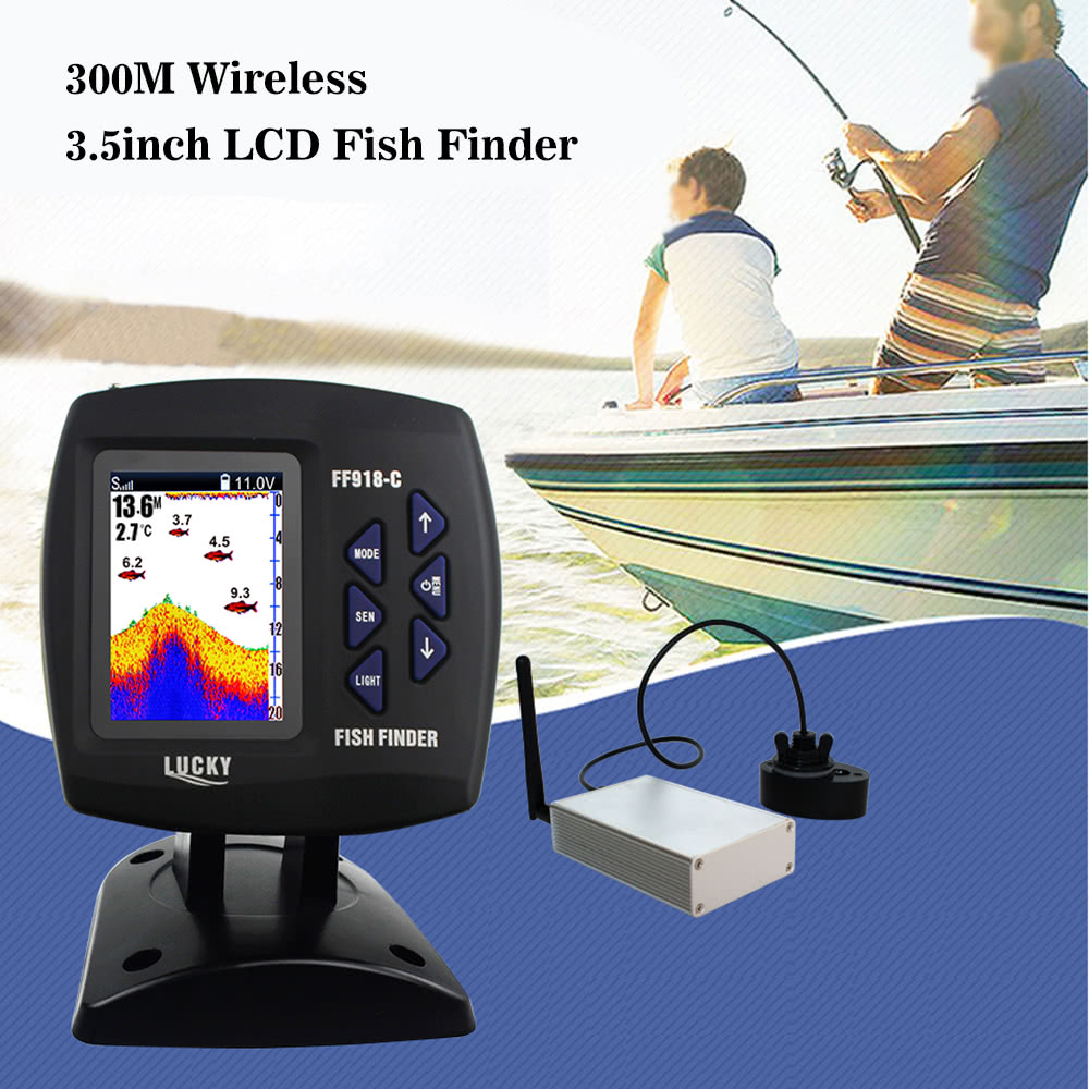 Lucky fish finder 300m wireless lcd fish locator for Lucky fish finder