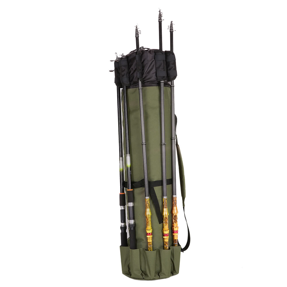 Dark green fishing rod organizer folding portable fishing for Fishing rod tote