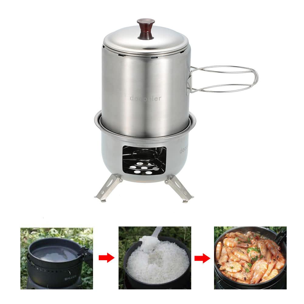 Docooler portable en acier inoxydable l ger po le bois for Poele a bois cuisine