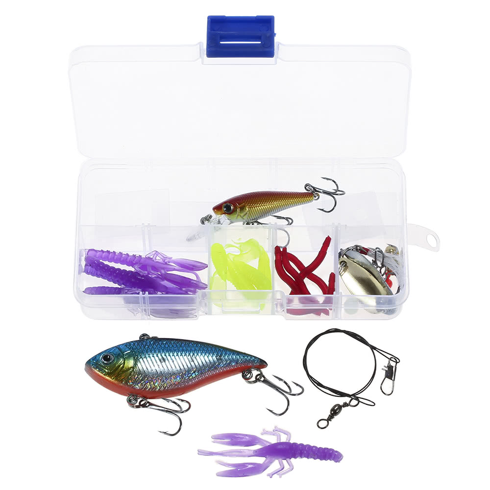 Lixada 26pcs Fishing Lures Baits VIB Spinnerbaits Popper Soft Baits Fishing  Hooks Topwater Lures Tackle Box Fishing Gear Lures Kit Set