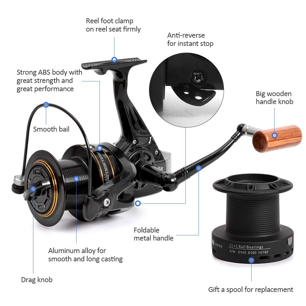 11+1 BB Fishing Reel Left/Right Interchangeable Collapsible Handle Fishing  Spinning Reel Ultra Light Smooth Sea Fishing Reel with Extra Spool