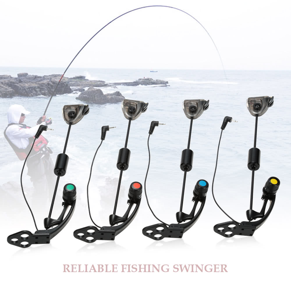 Lixada 4 PCS Set LED Hanger Sensor Swinger Illuminated Fishing Swingers in  Cases Bite Indicator Carp Fishing Wiggler Fishing Tackle Kit