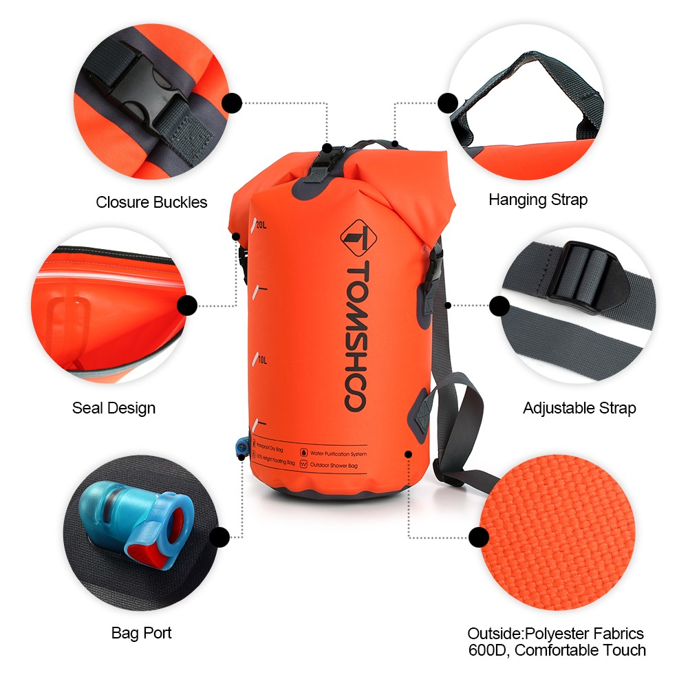 TOMSHOO 30L Outdoor Water Purification Water Filter Bag