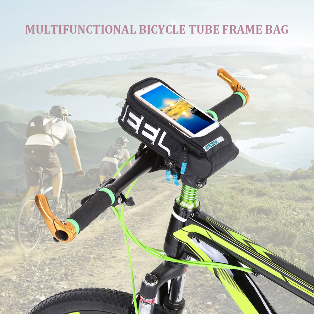 Multifunctional Bicycle Tube Frame Cycling Pannier Bike Bag Touchscreen Phone Holder Bag - US$10.12 Sales Online black - Tomtop