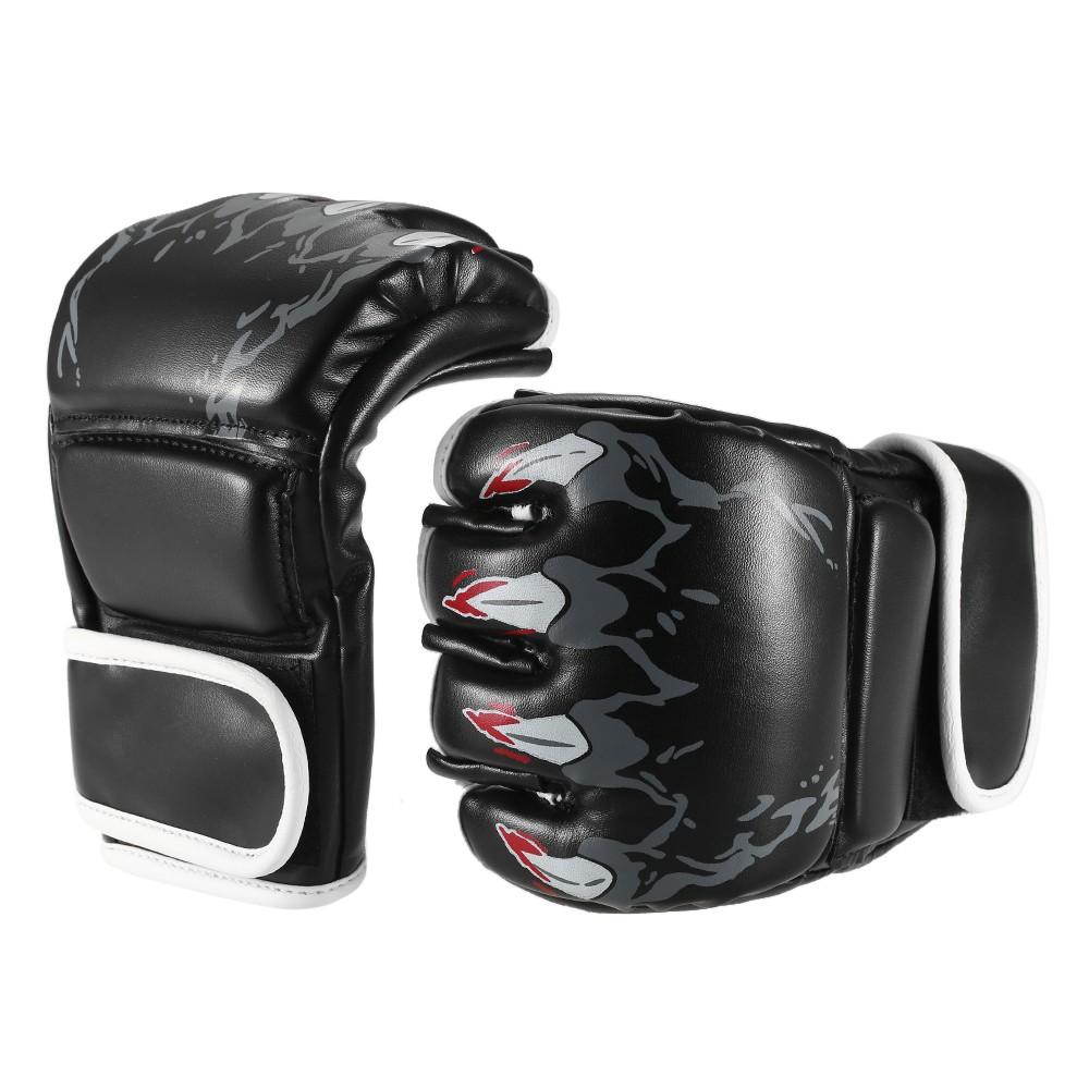 1ペアのボクシンググローブグラップルグローブ威力のあるスパーリンググローブハーフミット拳プロテクターテコンドームエイパンチバッグボクシングジムトレーニングギア