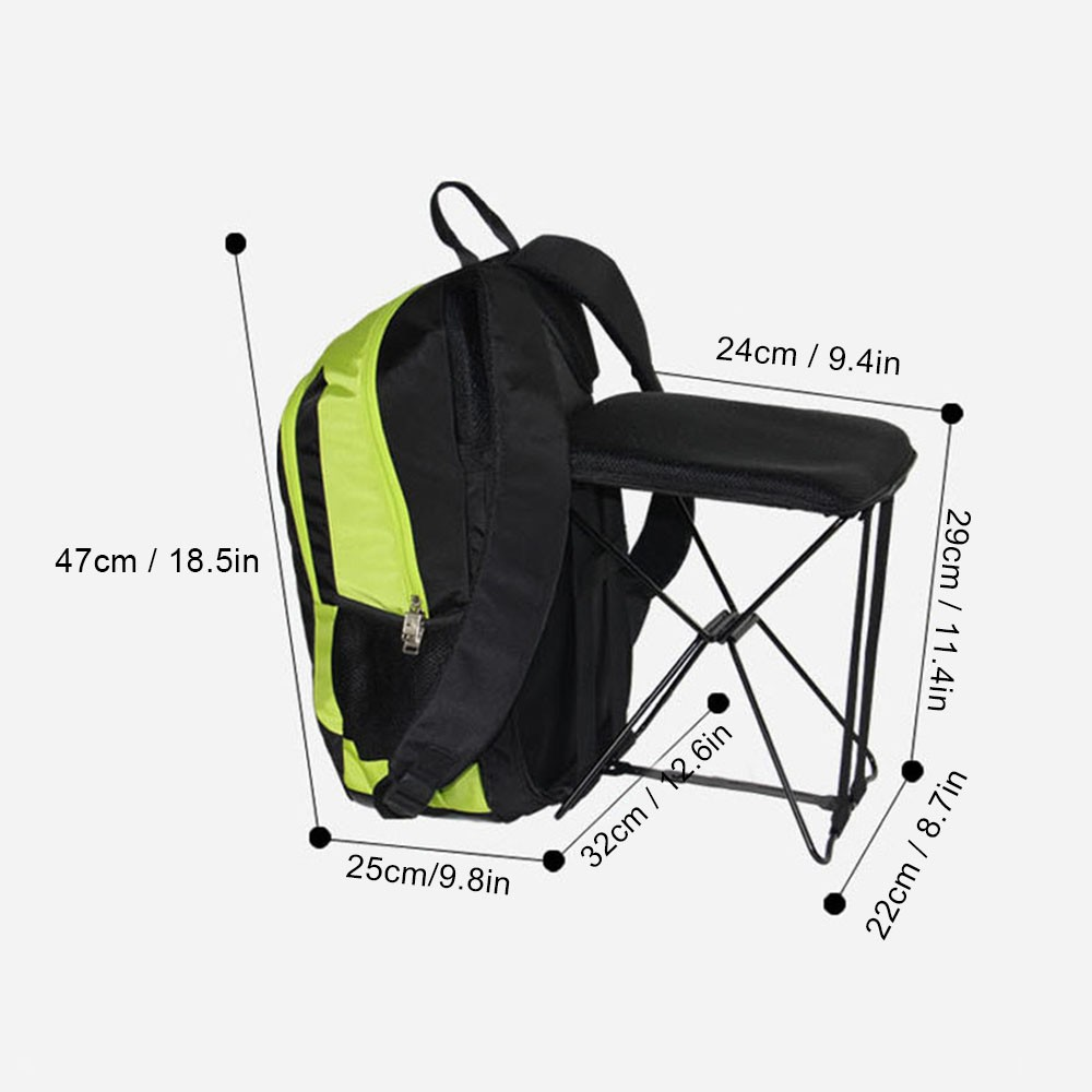 47l Camping Travel Backpack With Folding Chair Backpack