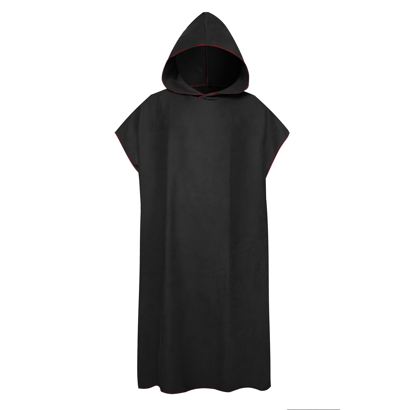 Red Beach Surf Poncho Changing Towel Robe with Hooded Quick Dry Surfing Swimming