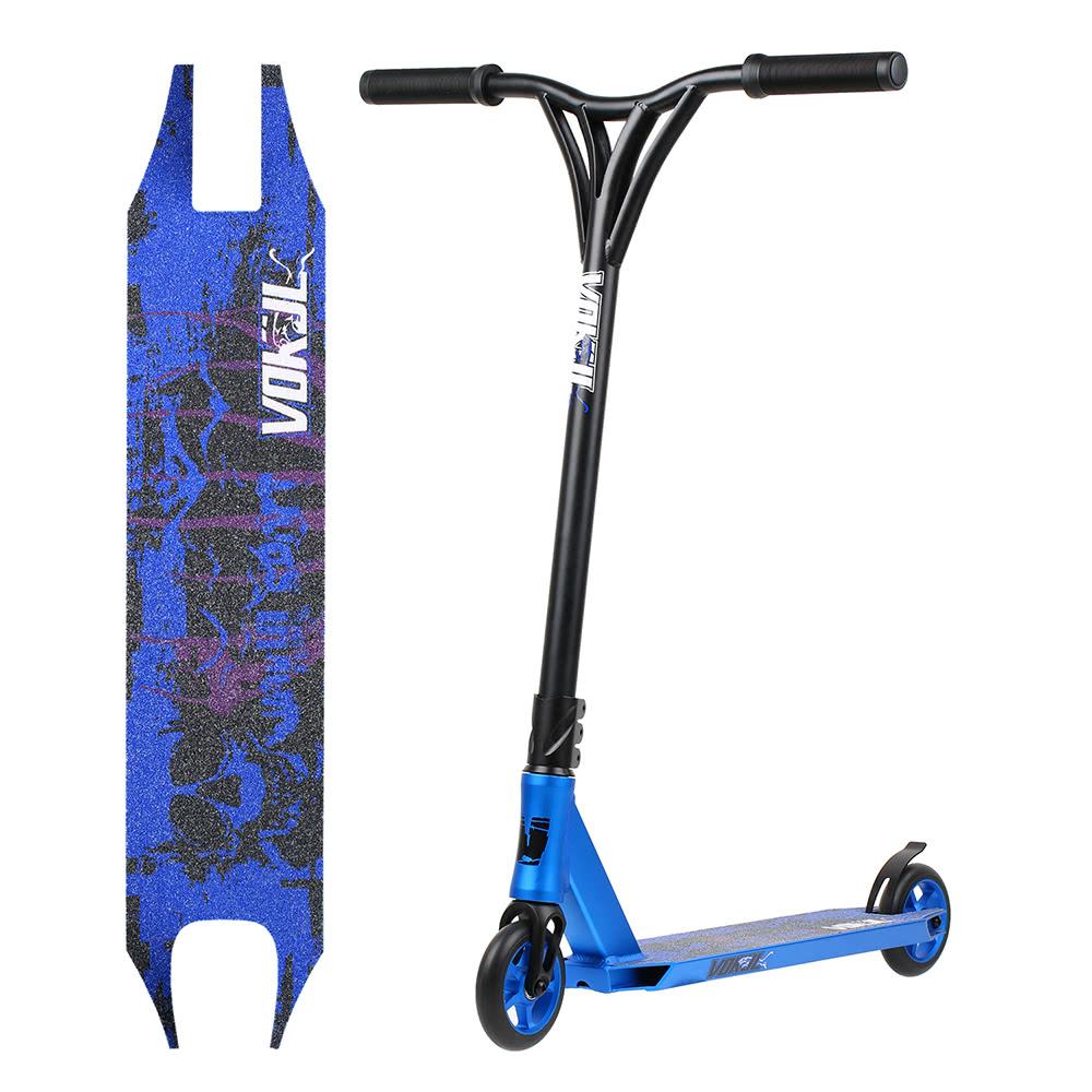 lisse sport professionnel scooter 2 roues skateboard scooter cr mo tube pro amateur bleu. Black Bedroom Furniture Sets. Home Design Ideas