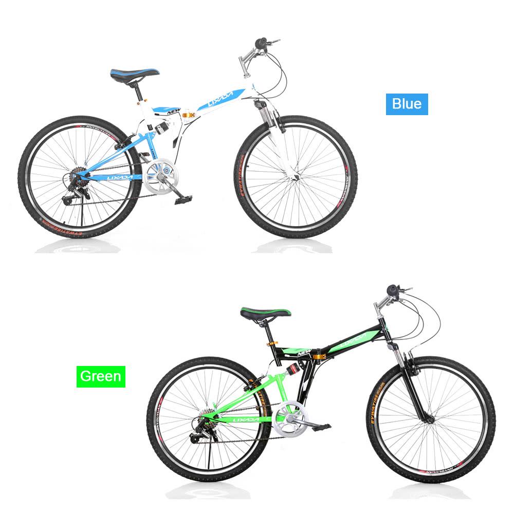lixada 26 carbon steel folding bike 7 vitesses v lo portable fold stockage blau. Black Bedroom Furniture Sets. Home Design Ideas