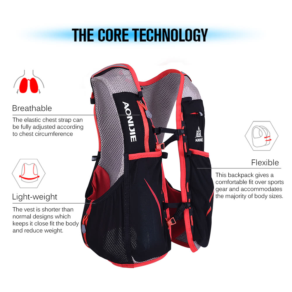 cdaaec4dbc AONIJIE 5L Outdoor Sport Running Vest Backpack Women/Men Hydration Vest  Pack for 1.5L Water Bag Cycling Hiking Bag