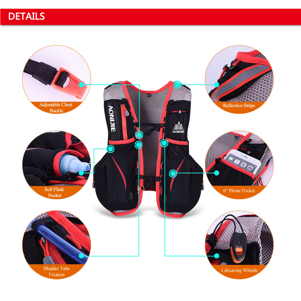 49ee5a0deb Package Size: 32 * 13.5 * 6cm / 12.6 * 5.3 * 2.4in. Package Weight: 342g /  12.1oz. Package List: 1 * Hydration Backpack 1 * Emergency Blanket