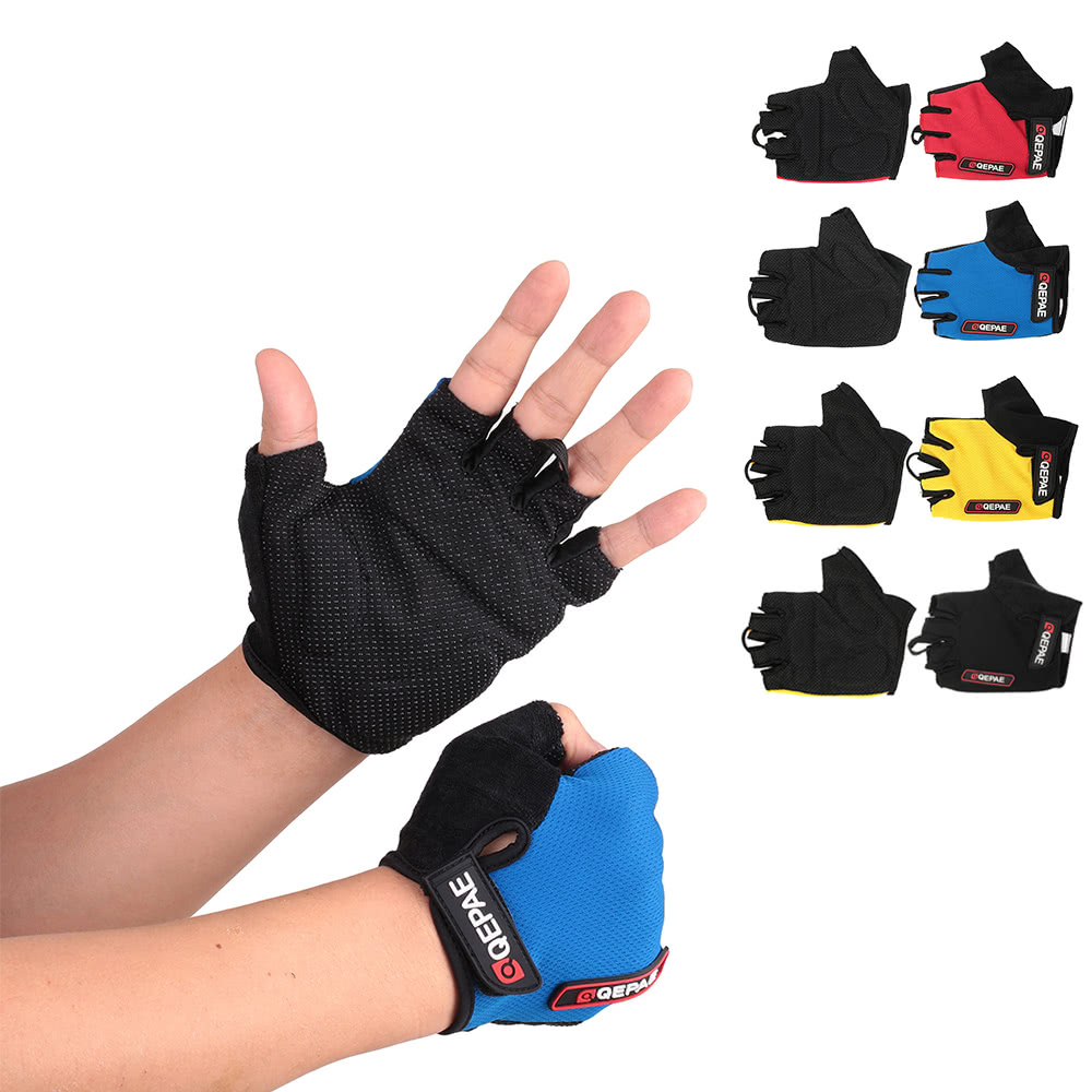 QEPAE Non-Slip Gel Pad Gloves Men's Women's Sportswear Cycling Riding Short Half Finger Gloves Breathable Shock-absorption - US$6.32 Sales Online blue l - ...