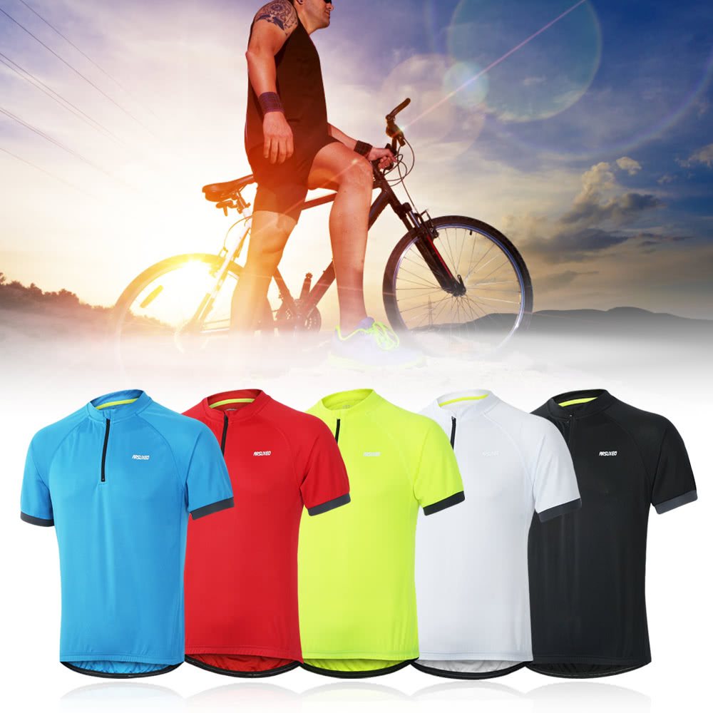 Arsuxeo Men Running T-Shirt Quick Dry Breathable Sports Shirt Outdoor Short  Sleeve Sportswear Cycling Jersey a4efad316
