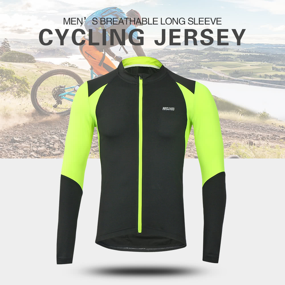 Arsuxeo Outdoor Sports Men s Cycling Jersey Bike Bicycle Long Sleeve Slim  Fit Compression MTB Clothing Shirt Jersey - US 19.81 Sales Online green s -  Tomtop e8e2dd8ce