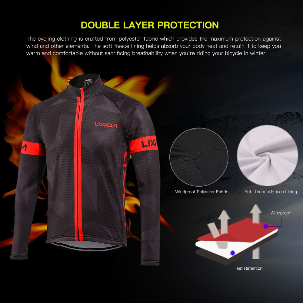 Lixada Men s Winter Thermal Fleece Cycling Clothing Set Long Sleeve  Windproof Cycling Jersey Coat Jacket with 3D Padded Pants Trousers 1ddc46936