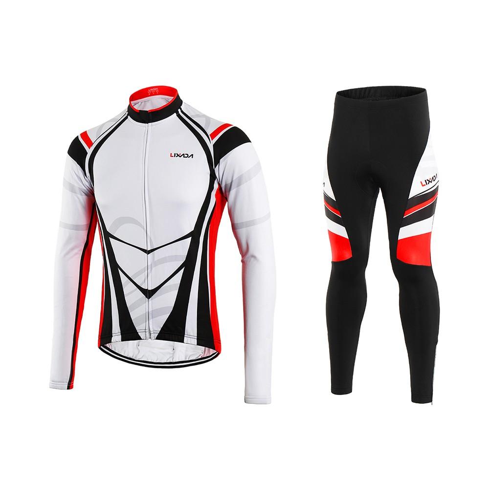 1014abc5e Lixada Men s Winter Thermal Fleece Cycling Clothing Set Long Sleeve  Windproof Cycling Jersey