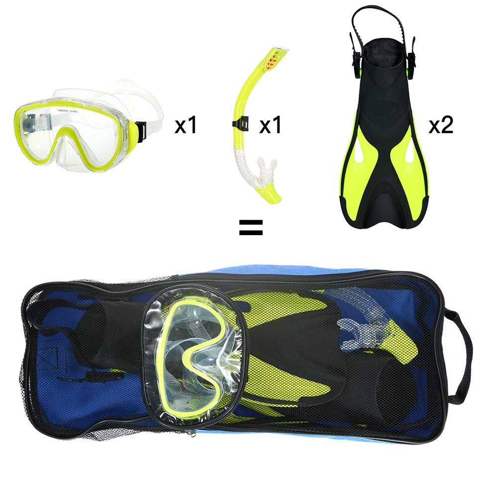 snorkeling combo set goggles mask snorkel tube fins with gear bag for men women swimming scuba