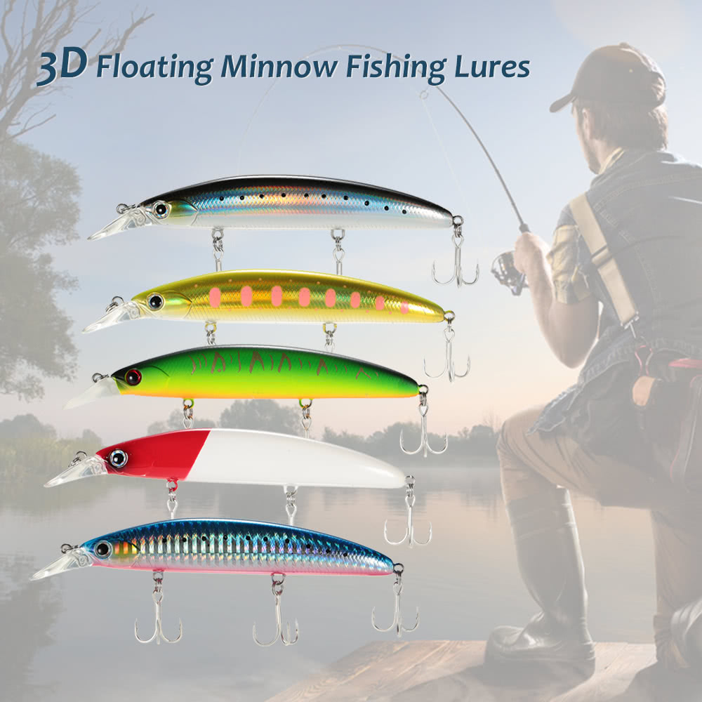 Trulinoya 11cm 3d floating minnow fishing lures bait hooks for Fishing tackle online