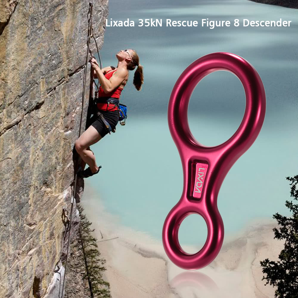 Figure 8 Mountaineering Climbing Tree Rock Rappelling Rings Belay Device 35KN