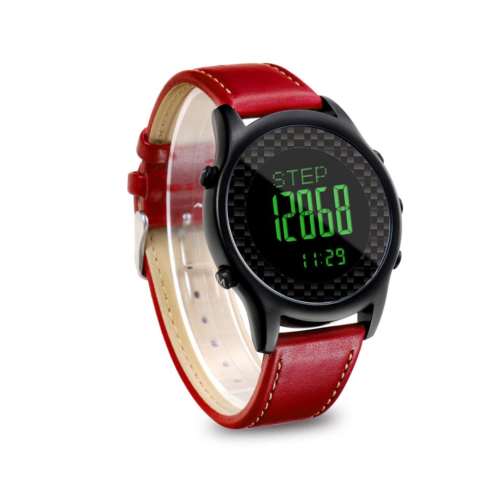 spovan digital smart watch avec bracelet en cuir v ritable montres de sport montre bracelet. Black Bedroom Furniture Sets. Home Design Ideas