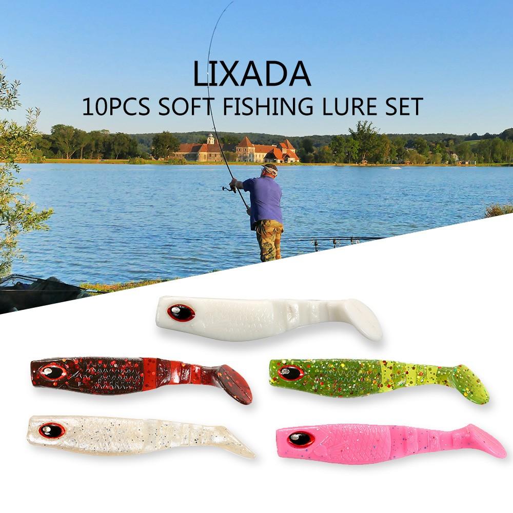 Lixada 10pcs 7cm square head fish type soft fishing for Fishing r us