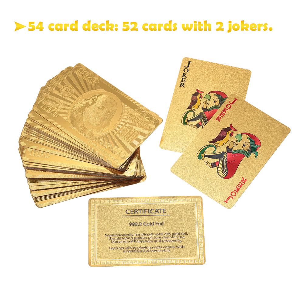 Certified pure 24k carat gold foil plated poker playing for Table 52 cards