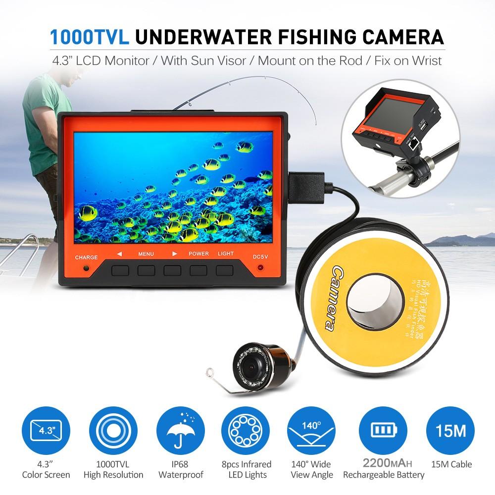 Best lixada 15m 1000tvl 4 3 underwater ice fishing camera for Best ice fishing fish finder
