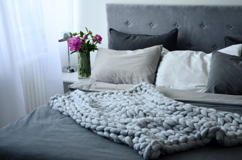 chunky gestrickte handgemachte dicke decke himmelblau s. Black Bedroom Furniture Sets. Home Design Ideas